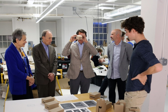 Members of our Dean's Council were in Buffalo last fall for the grand reopening of Hayes Hall. Pictured from left to right are urban and regional planning chair Ernest Sternberg, architecture chair Omar Khan and Dean's Council members Richard Perlmutter, Madeline Burke-Vigeland, Franklin Dickinson, Randy Asher and alumnus and friend Gary Jastrzab.