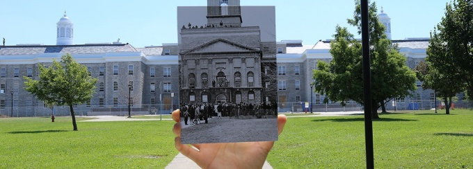 Hayes Hall during the 1968 student riot take over superimposed over current Hayes Hall