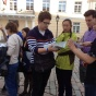 students read map on Estonian street