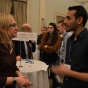 Students meet with alumni at a networking event in New York City.