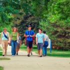 students strolling on south campus of the University at Buffalo.
