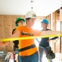 Students work on a recent affordable housing rehab project in Buffalo.