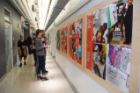 As a canvas for faculty and student work, Hayes Hall features hallways with hanging exhibit systems and swivel display lighting. Exhibits lined the north and south wings on every floor for the grand reopening events. Photo: Joe Cascio Photography