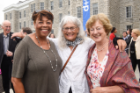 All smiles at the reopening are Ruth Bryant, former assistant dean of the School of Architecture and Planning; Lynda Schneekloth, professor emerita of architecture; and Bonnie Foit-Albert Cox (MArch '75). Photo: Joe Cascio Photography