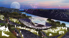 Rendering of ArtPark master plan, SO-IL, West 8, Charcoalblue