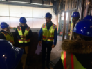 Hardhat tour of new dorm building for Pratt Institute by CannonDesign. Hosted by alum Ryan Koella (second from right). Photo by Joyce Hwang