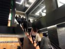 Students entering Gensler offices in Manhattan. The visit was hosted by Karli Brummer, workplace experience manager for Gensler; and Eric Brill (BPS '92), a senior associate with the firm. Photo by Joyce Hwang