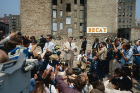 Former U.S. president Ronald Regan addresses streetwise citizens of the Bronx's notoriously distressed Charlotte Street neighborhood. Many politicians visited the site but few did anything to improve conditions. Photo courtesy of Jason Hackworth