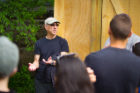 Ed Steinfeld talks with students at a Habitat for Humanity house in Buffalo that was designed by UB students. Photo: Douglas Levere