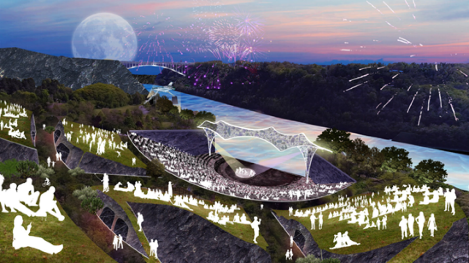 Rendering of Artpark showing layout of built structures and green space across the park which abuts the NIagara River in Lewiston, NY.