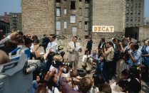Former U.S. president Ronald Reagan addresses streetwise citizens of the Bronx's notoriously distressed Charlotte Street neighborhood. Many politicians visited the site but few did anything to improve conditions. Photo courtesy of Jason Hackworth.