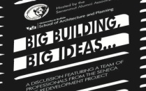 "abstract image of a building with text ""Big Building, Big Ideas...""."