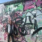 Recent UB architecture graduate Matthew Straub at the East Side Gallery in Berlin, Germany, as a Fulbright.