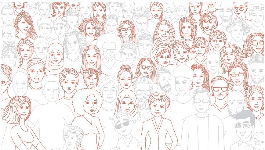 An sketch of a group of people with women of all colors and backgrounds highligihted.
