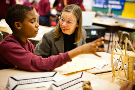 Beth Tauke introduces architecture to a gradeschool student of the Buffalo Public Schools.