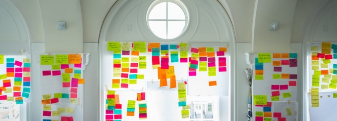 This colorful collection of Post-it notes reflects the ideas University at Buffalo students brainstormed during the Global Innovation Challenge. Photo: Douglas Levere