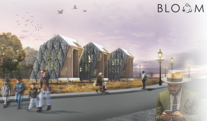 Rendering of a the streetscape including the MICRO House