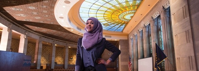 Photograph of Juweira Dahir in the City of Buffalo Council Chambers