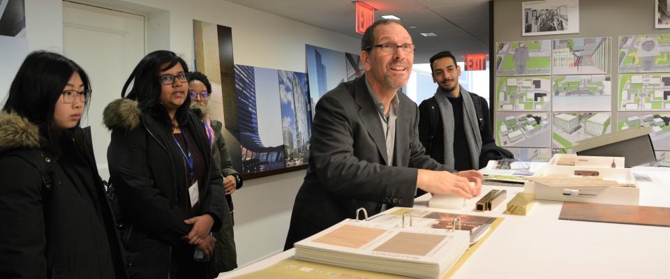 Students visit architecture firm Kohn Pedersen Fox in New York City.