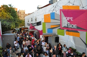 Hope is Inside, a pop-up public space curated and developed by teens participating in Made in Brownsville. Image courtesy of MIB.