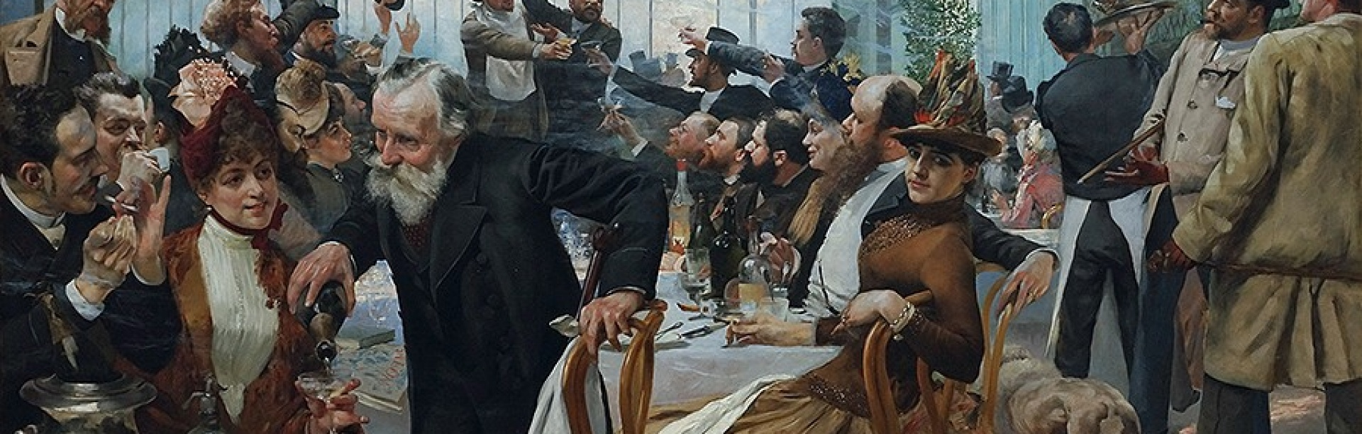 By encouraging random encounters and free-flowing conversation, coffee shops are engines of innovation. The Scandinavian Artists' Lunch at Café Ledoyen, Paris: Varnishing Day 1886, by Hugo Birger.