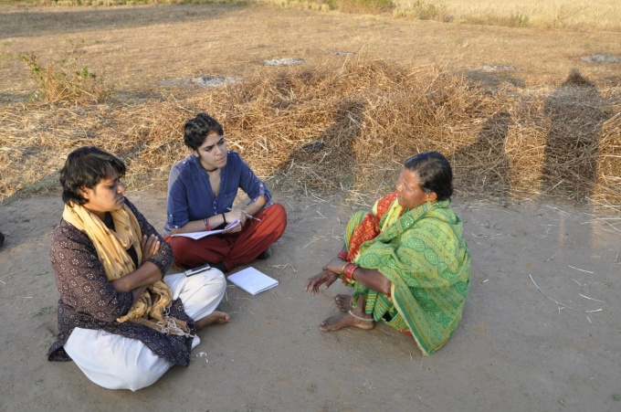 Daniela Leon with community members in India on a recent field work visit.