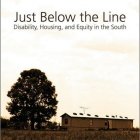 Cover of Just Below the Line showing a mobile home in a rural setting next to a tree.