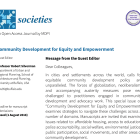Cover page for the Community Development for Equity and Empowerment Special Issue of the Societies journal, edited by Robert Silverman.