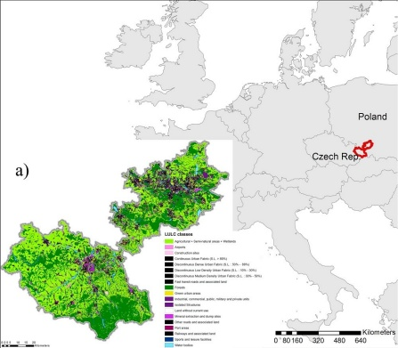 Location of the case study within Europe. a) Land cover map of Ostrava and Katowice according to the Urban Atlas.