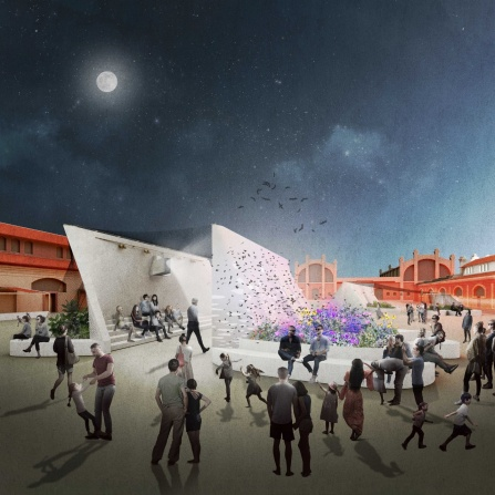 Rendering of urban area at night with people walking in front of organically shaped structures.