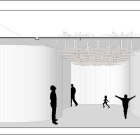 Section cut through room. Rainsticks hang from the ceiling, and people dance in the space below.