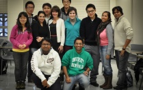 Shannon Phillips poses with a group of new graduate students