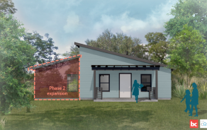 A rendering of the MiCasita starter home with an outline of how it might expand into a Phase 2 home.