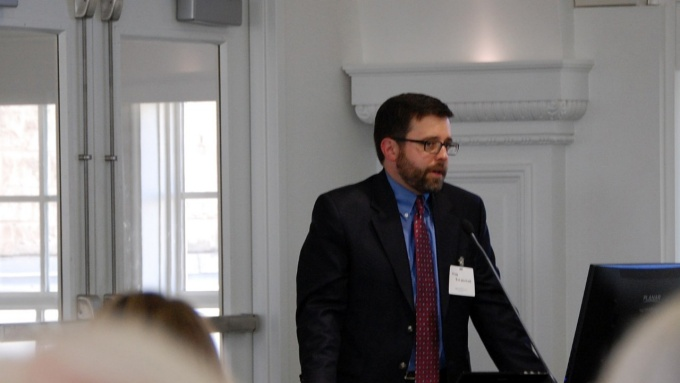 "Nicholas Rajkovich speaking at the ""From Sandy to Snowvember: Climate Change and Buildings in New York State Symposium"" in 2016."