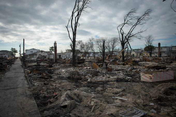 A fire following Hurricane Sandy in 2012 caused extensive damage in Breezy Point, New York.